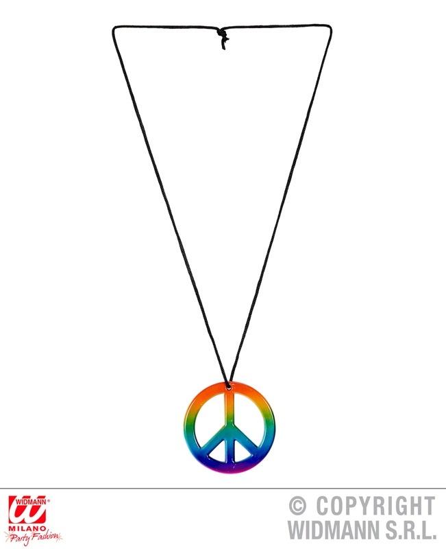 Hippiekette regenbogenfarbig Peace-Zeichen ca 7,5cm