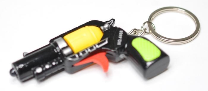 Pistole mit Licht 3-fach sortiert an Schlüsselkette - ca 7cm