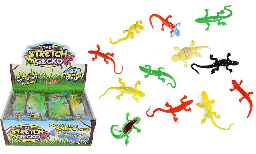 Gecko Eidechse Slamander dehnbar 12-fach sortiert ca  8-11cm