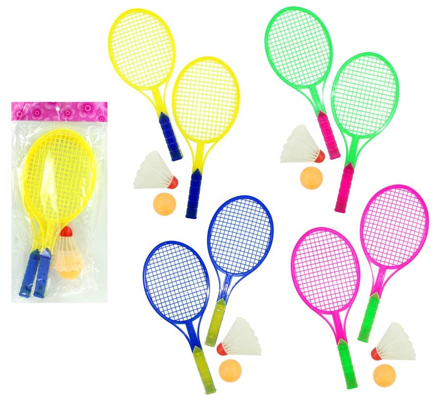 Federballspiel - 4 farbig sortiert ca 27 cm