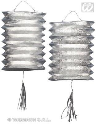 Laterne - Zuglaterne metallic silber 2 Stück - je ca 25cm