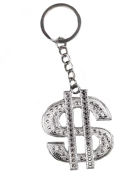 Dollarzeichen Metall silber an Schlüsselanhänger - ca 5cm