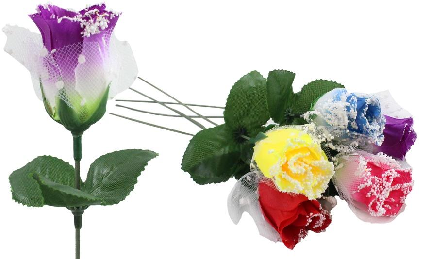 Rose  mit Tüll und Schnee  5-fach sortiert  ca 26cm