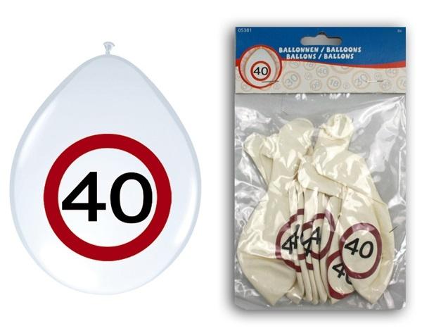 Ballons - Verkehrsschild 40 - 8Stck Durchmesser ca 25-30cm