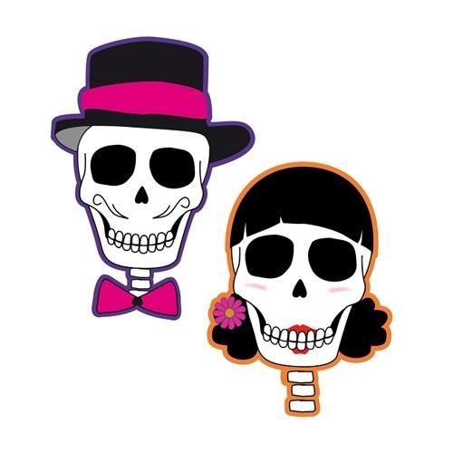Wanddekoration Skull Party 2-fach sortiert - ca 33x24cm