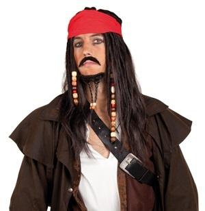 Perücke - Pirat mit Bandana,Schnurrbart und Bart