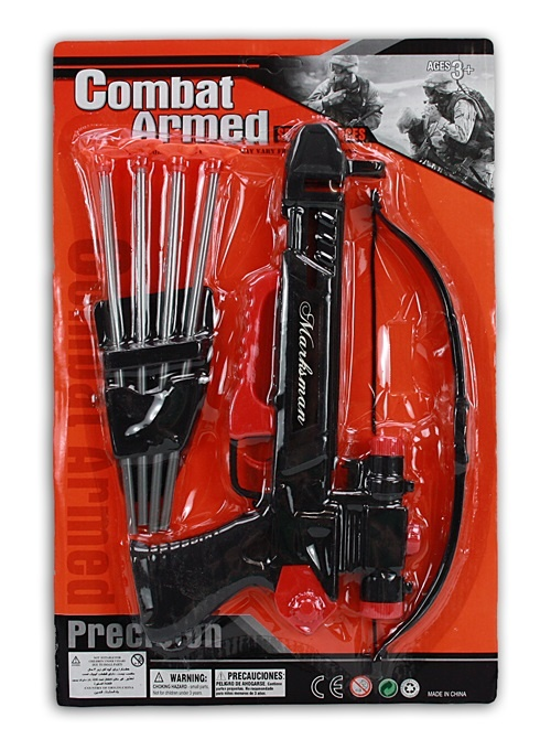 Armbrust, Pfeil und Bogen auf Karte ca 25x38cm