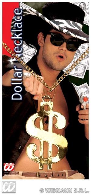 Kette - Metall-Goldkette Dollar - Dollarzeichen ca 11cm