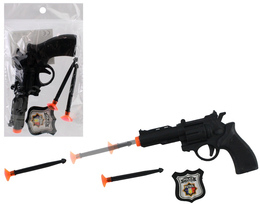 Pfeilpistole mit 2 Pfeilen und Polizeimarke - ca 14 cm