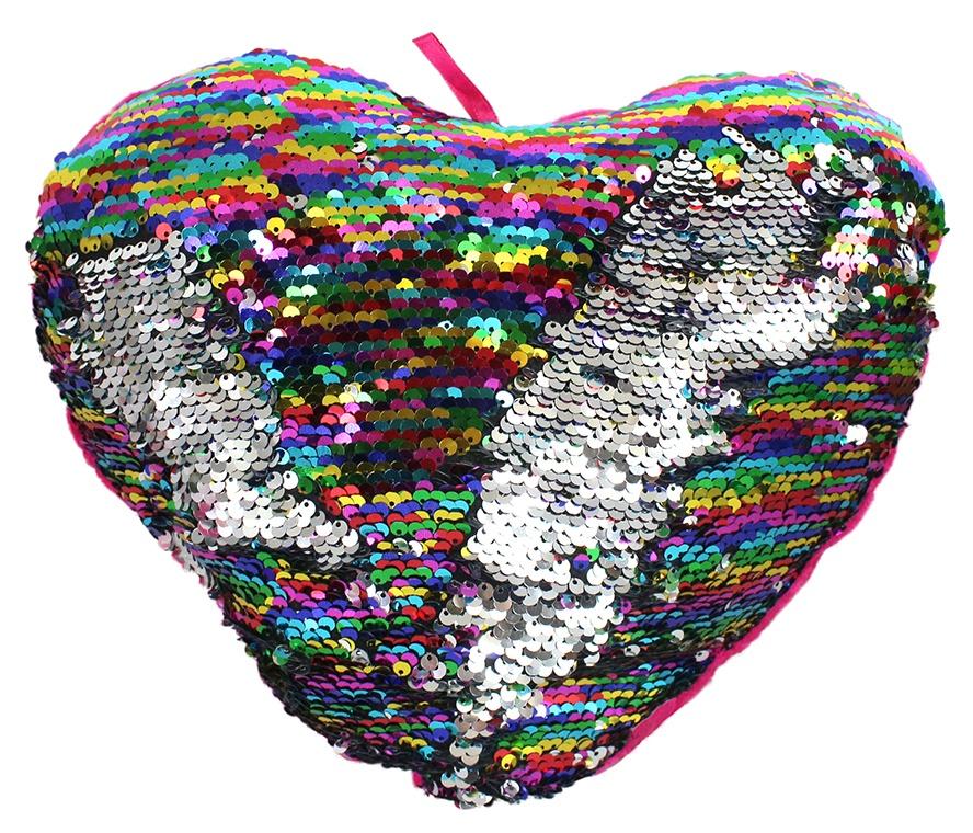 Herz mit Wendepailetten bunt/silber ca 30 cm