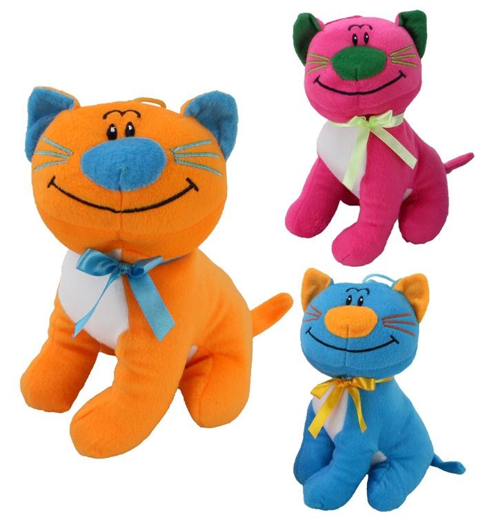 Katze sitzend 3 farbig sortiert  ca 21 cm