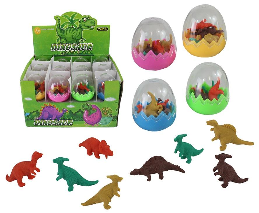 Radiergummi  Dinosaurier 8 Radierer in Ei- 4-fach sortiert