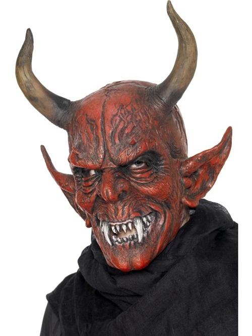 Maske - Teufel Dämon mit Hörnern aus Latex