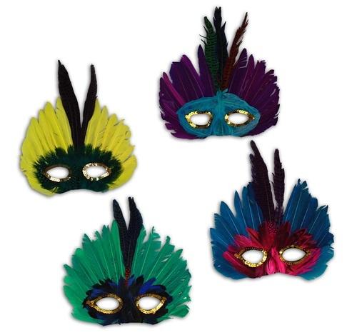 Maske - Federmaske 4-fach sortiert