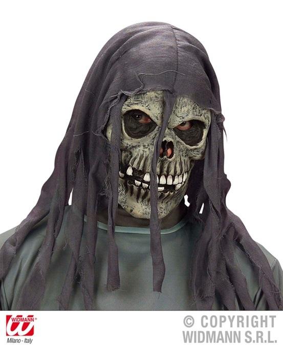 Maske - Totenkopf mit zerissener Kapuze
