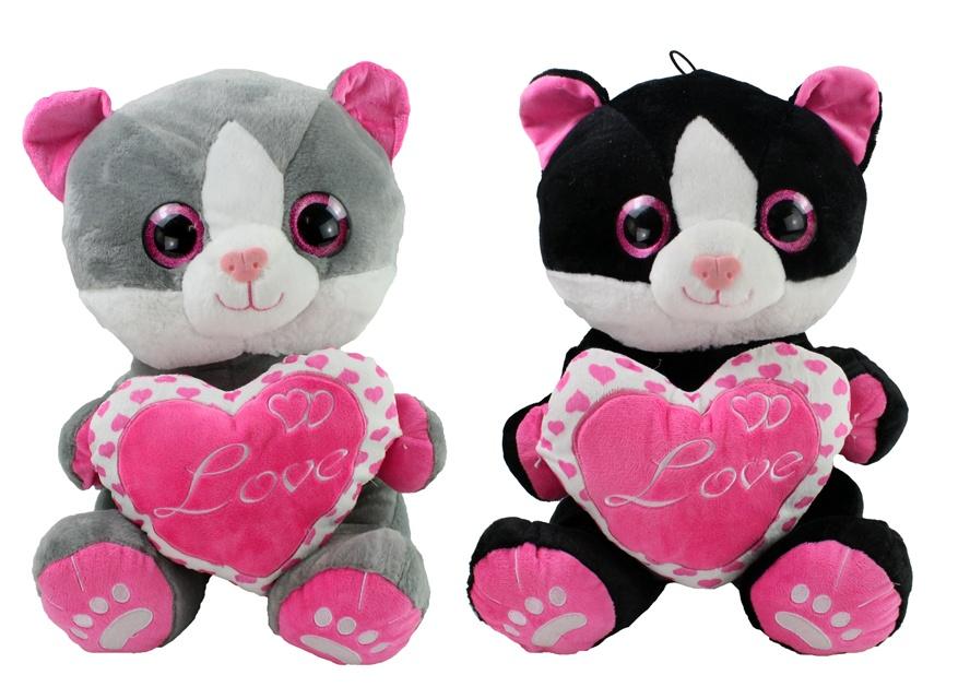Katze mit Herz LOVE 2-fach sortiert ca 25 cm