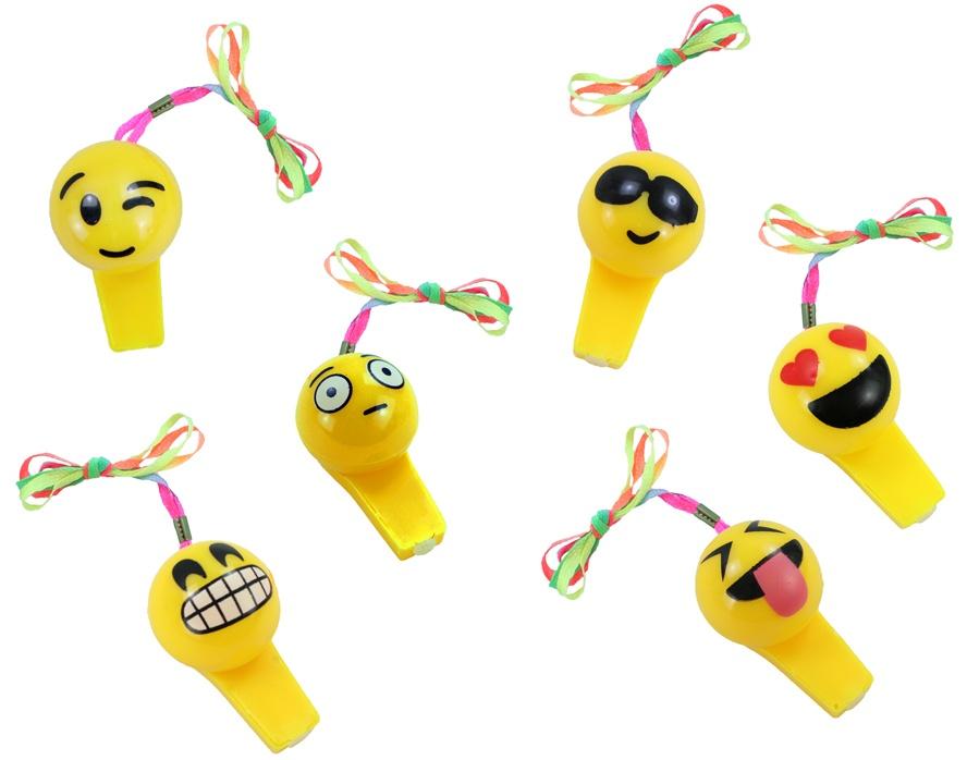 Trillerpfeife Emoticons am Band gelb mit 3 LEDs ca 7,5 cm