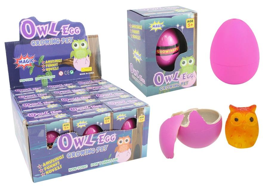 Eule Ei wachsend - in Schachtel ca 10,5x7,5x5cm