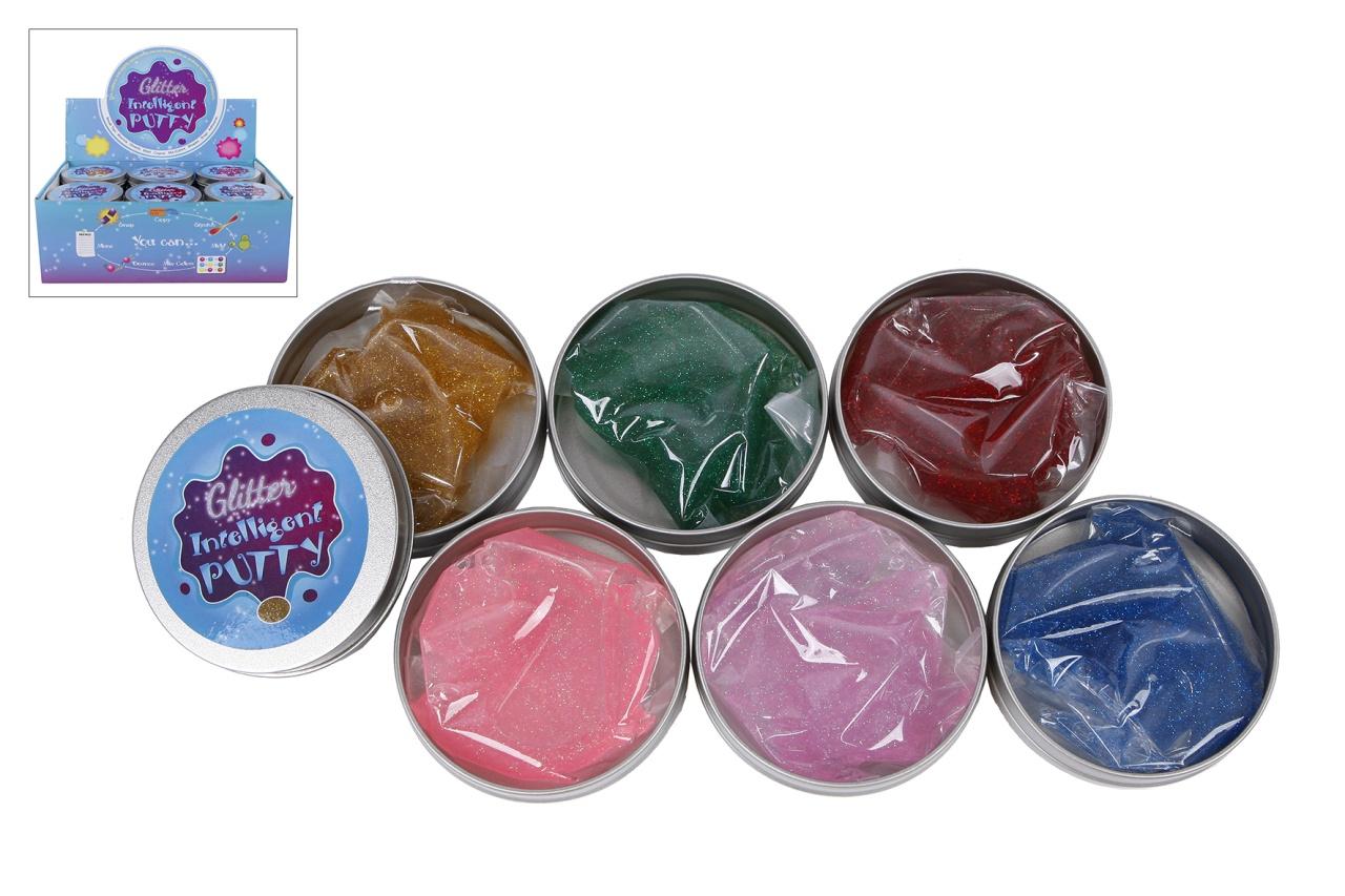 Putty Knete Glitter 6 Farben sortiert in Dose ca 8,5x2cm