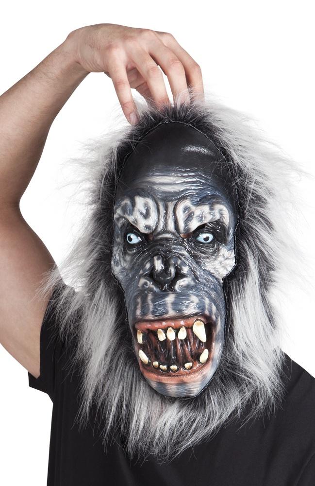 Maske Gorilla mit Fell - aus Latex