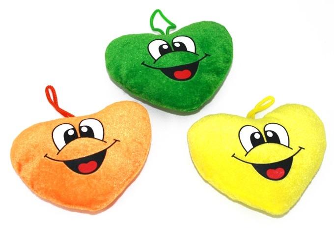 Herz mit lachendem Gesicht 3 Farben sortiert ca 11 cm