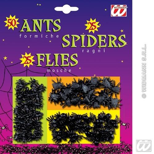Set - 50 Ameisen, 25 Spinnen, 25 Fliegen a Karte ca 17x20cm