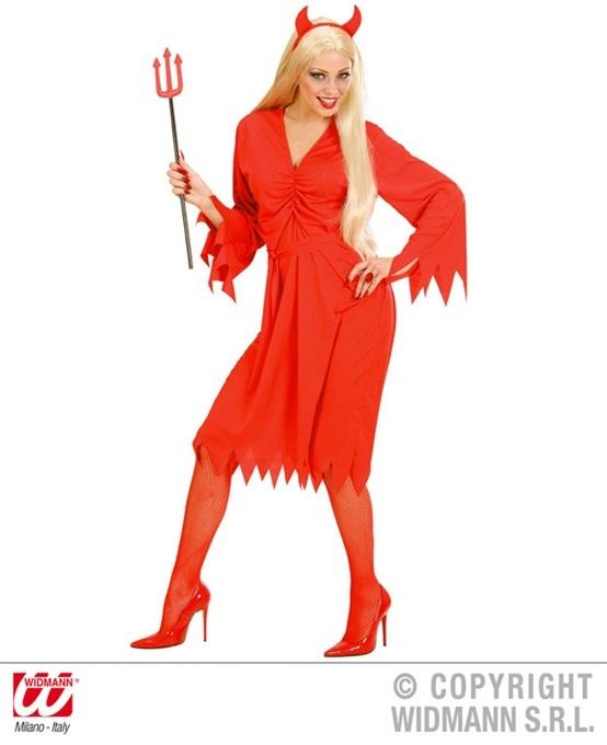 Kostüm Teufelin (Kleid, Gürtel und Hörner) Größe S