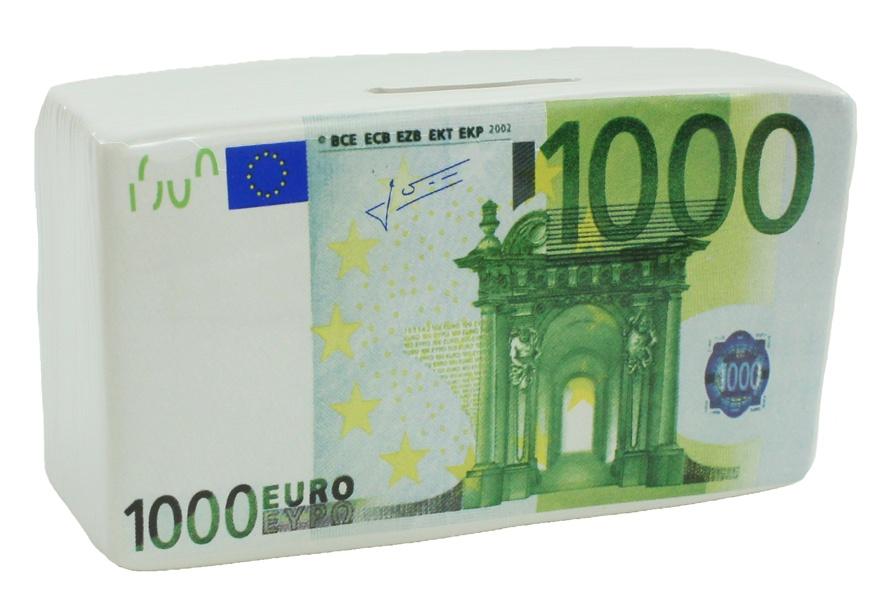 Keramikspardose 1000 Euro Design ca 13 x 7,5 x 7,3 cm