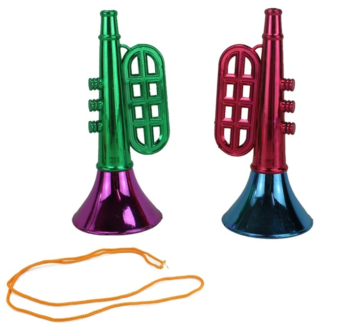 Trompete metallic mit Band 2-fach farbig sortiert ca 15,5cm