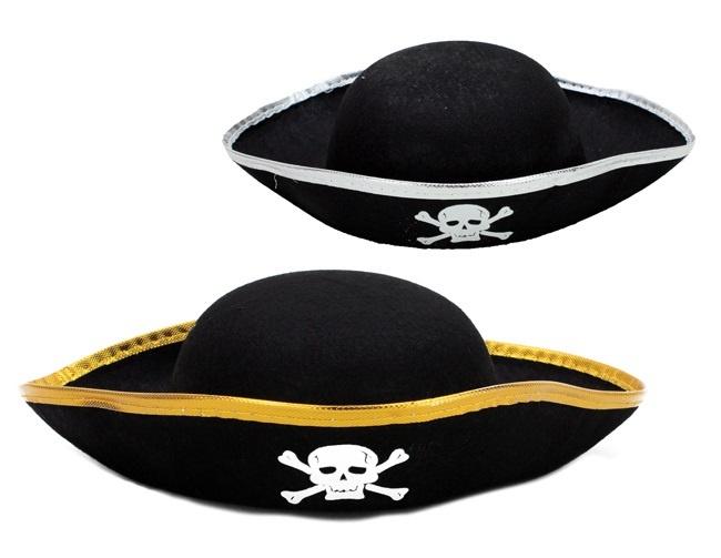 Kinder Piratenhut schwarz mit gold oder silber