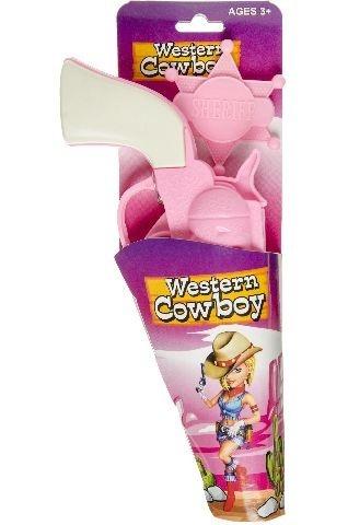 Pistole rosa mit Sheriff-Stern - ca 19 cm