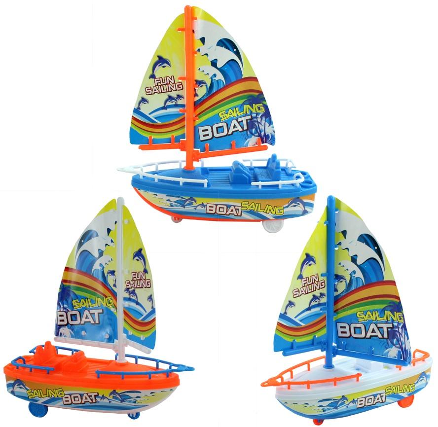 Segelboot mit Friktion 3-fach sortiert - ca 20cm