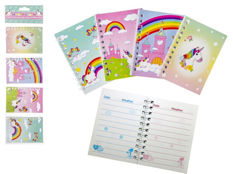 Notizbuch Einhorn  ca 40 Blatt 4  Farben sortiert
