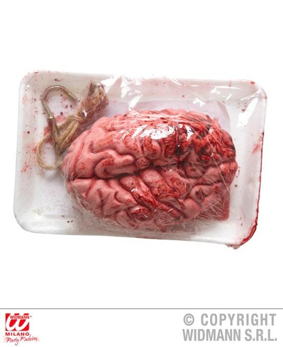 Gehirn mit ,Blut, befleckt mit Haken in Schale - ca 21x15cm
