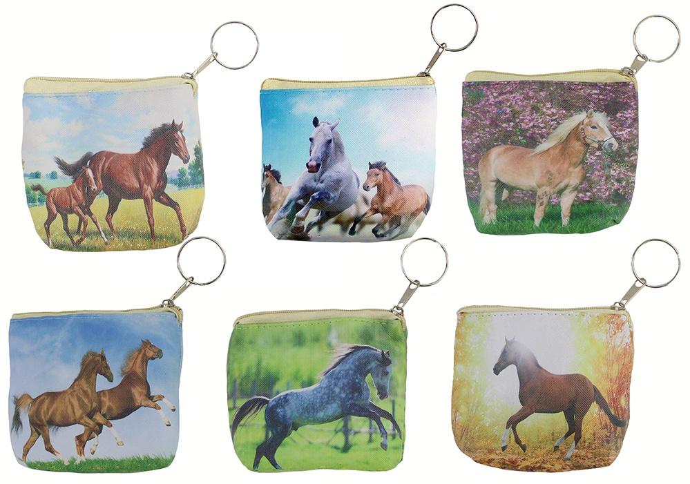 Börse mit Pferdemotiv an Schlüsselanhänger  - ca 10x8,5x3cm