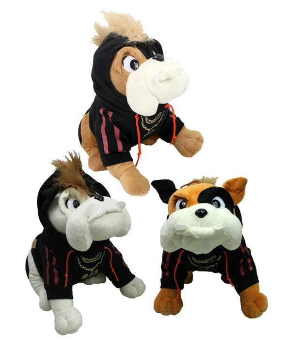 Bulldogge 3-fach sortiert mit Kapuzenpulli ca 25cm