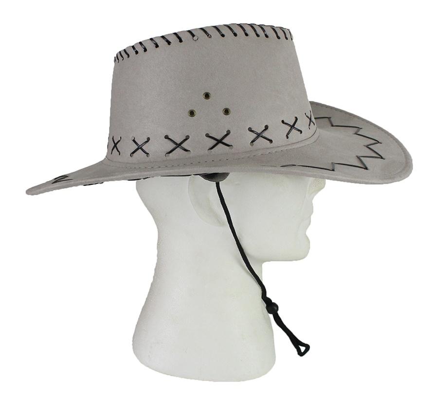 Cowboyhut Wildlederoptik grau weiß ca 20 cm Ø
