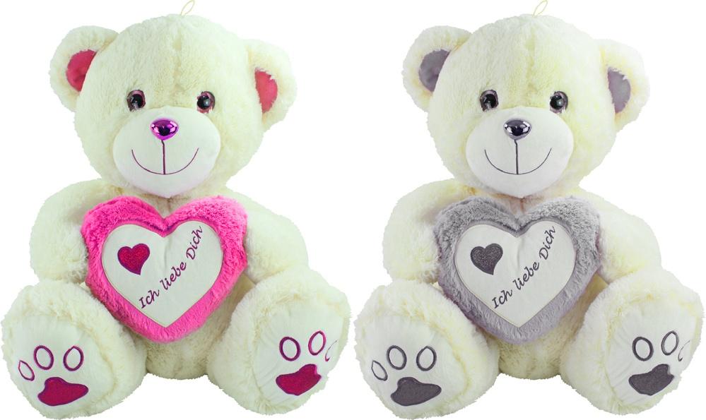 Bär Herzbär sortiert grau/pink ca 80cm