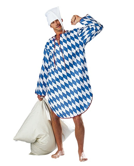 Bayerisches Nachthemd, weiß/blau