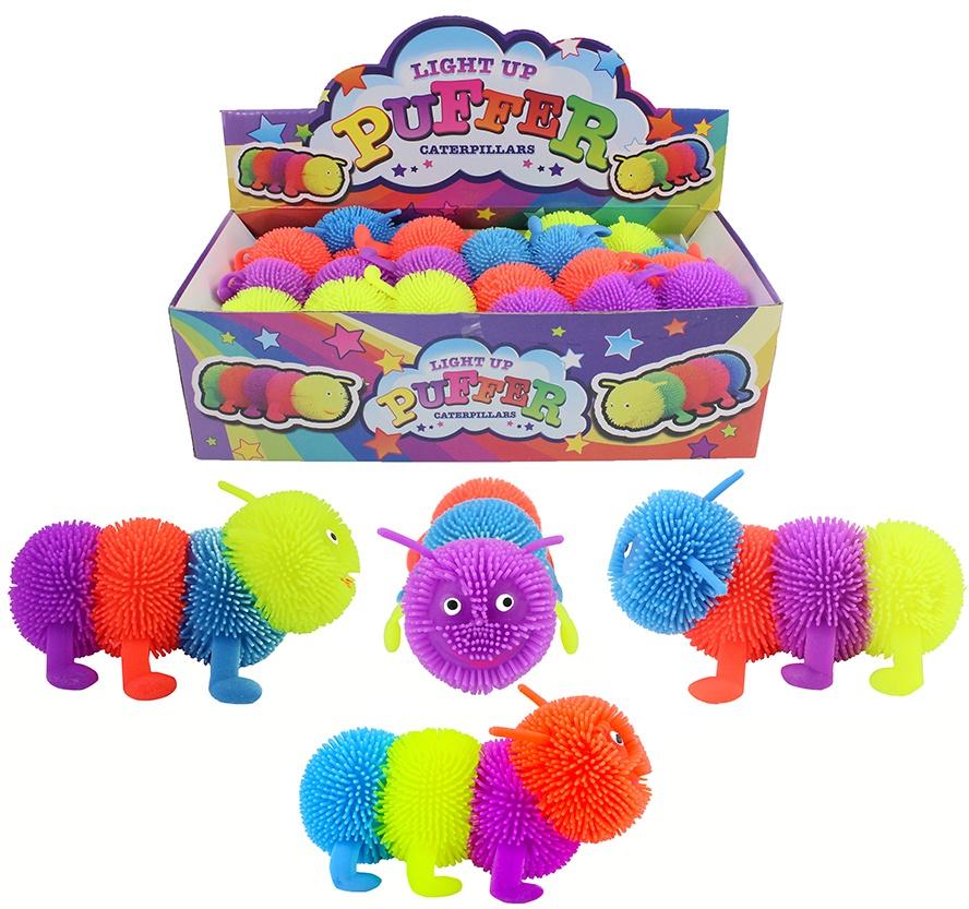 Fluffy-Wurm Raupe mit Licht 4-farbig sortiert - ca 13 cm