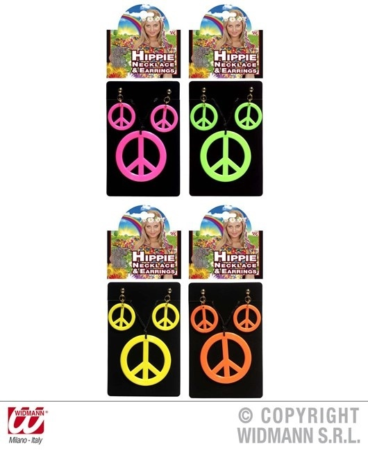 Hippiekette und Ohrringe PEACE 3 teiliges Set