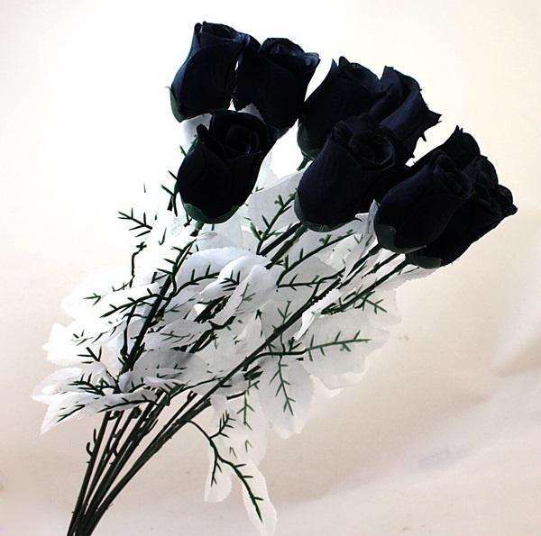 9 rosen mit bl ttern schwarz seidenblumen kunstblumen gothic halloween deko ebay. Black Bedroom Furniture Sets. Home Design Ideas