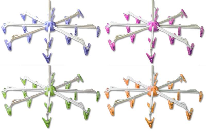 Wäschespinne mit 16 Klammern 4 Farben sortiert  Ø 40 cm