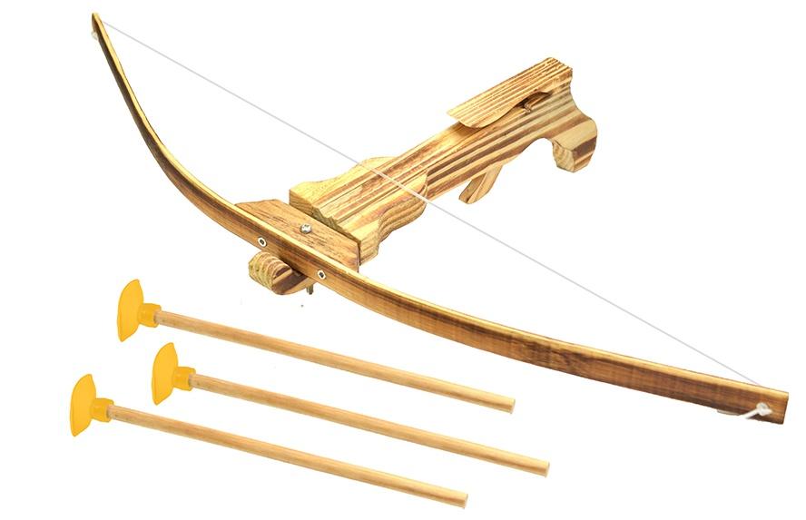 Armbrust Bambus mit 3 Pfeilen im Beutel - Bogen ca 52cm