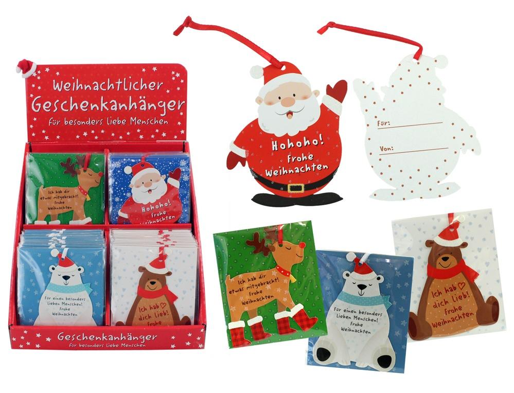 Geschenkanhänger weihnachtlich 4-fach sortiert