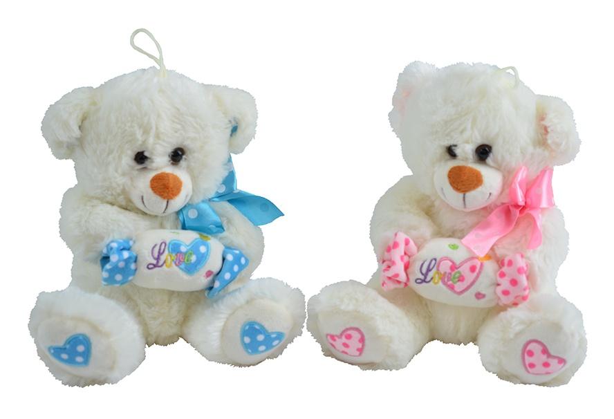 Bär sitzend mit Bonbon und Stickerei 2 Farben sort ca 20 cm
