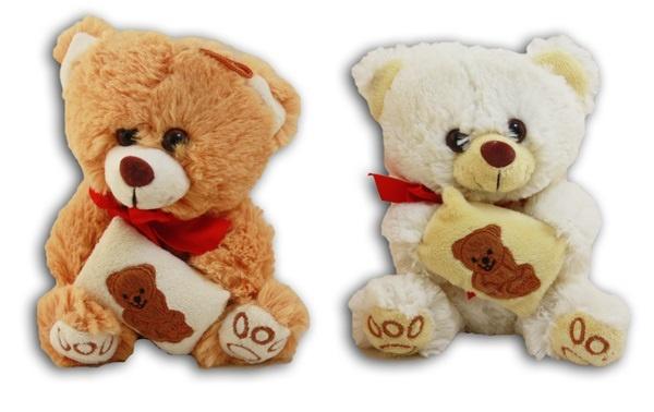 Bär mit Stickerei auf Kissen 2-fach sortiert - ca 15cm