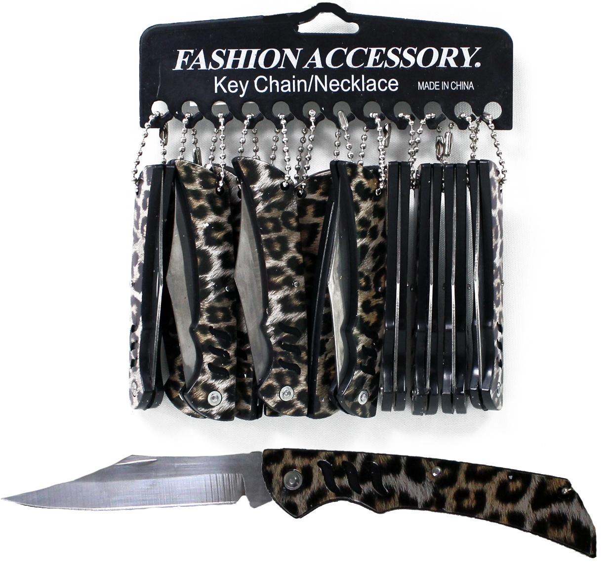 Taschenmesser Leopardendesign mit Kette - ca 95 mm