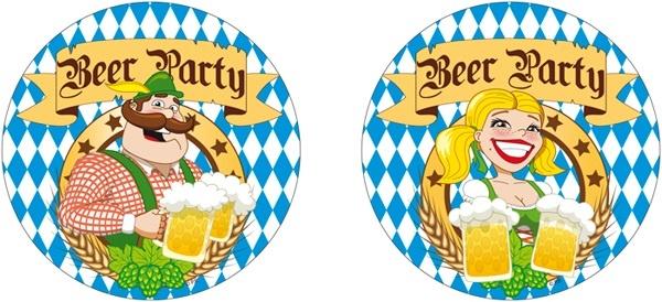 Bierdeckel - Beer Party 2-fach sortiert - 10Stk - ca 10cm