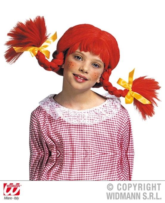 Perücke - freches Mädchen orange Zöpfe für Kinder